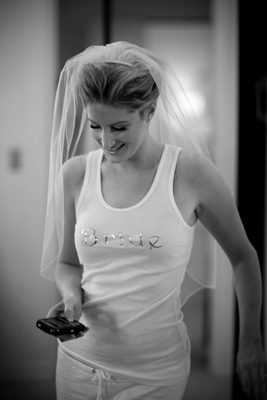 Black and white photo of bride in tank top