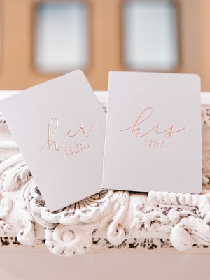 wedding gift ideas vow books for bride and groom rose gold foil modern calligraphy