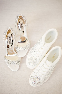 badgley mischka with crystal details, aldo sneakers with crystal details