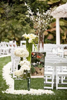 Mirror box risers at Hotel Bel-Air wedding ceremony white flowers