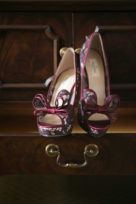purple lace high heels valentino shoes bow catholic wedding california