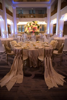 Wedding reception at the Renaissance Downtown Cincinnati Hotel with trainling fabric on chairs