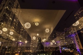 wedding reception ballroom reception floor to ceiling windows chicago skyline downtown