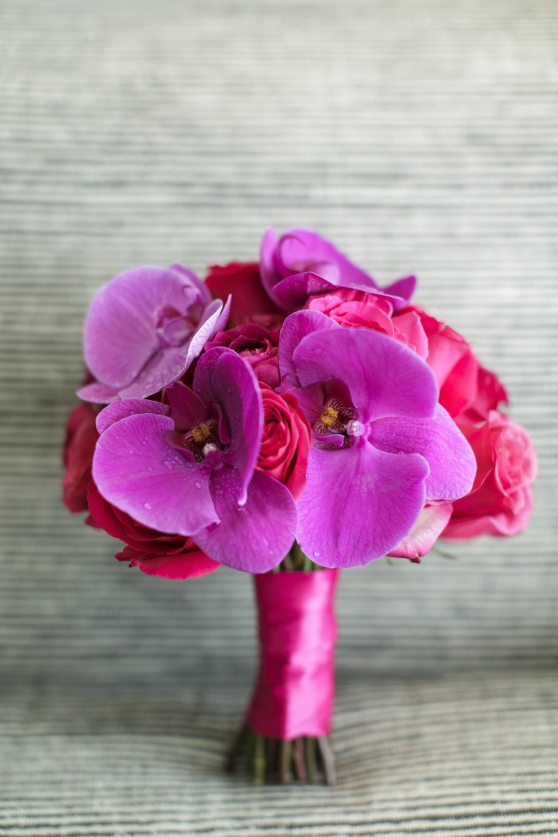 Bridesmaid bouquet with pink roses and purple orchids