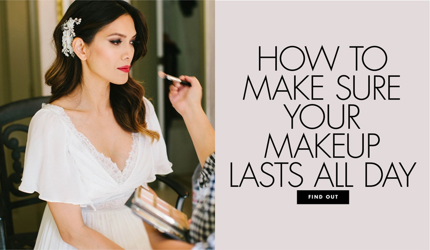 bride getting makeup done, how to make your wedding makeup last all day