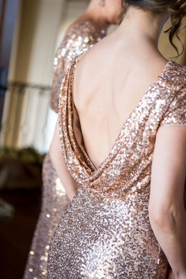 Badgley Mischka cowl back bridesmaid dress rose gold sequins updo