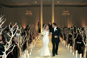 Bride and groom exit Chicago wedding together