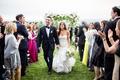 wedding ceremony recessional bride trumpet gown strapless sweetheart neckline groom in tuxedo hudson