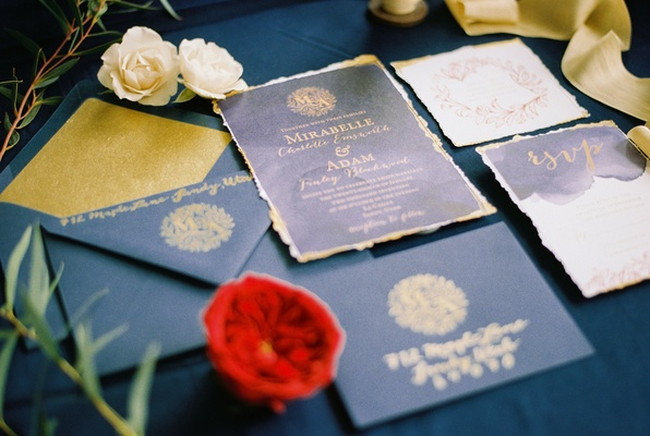 beauty beast movie styled wedding shoot vintage inspired navy gold invitations fairy tale princess