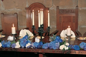 Traditional castle reception seating with blue hydrangea