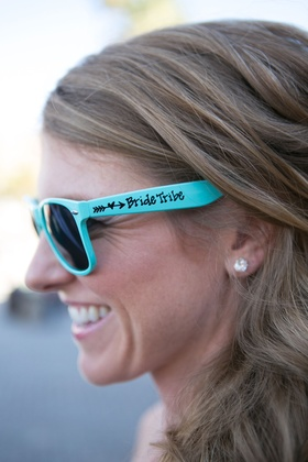 bridesmaid with baby blue sunglasses