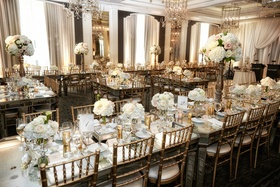 gold chiavari chairs, mirror top tables, pale rose centerpieces