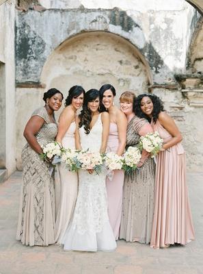 guatemala destination wedding bridesmaid in mismatch dresses blush champagne grey bride in liancarlo