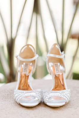 silver bedazzled badgley mischka bridal heels with ankle straps