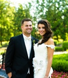 Bride and groom at Allentown mansion garden venue