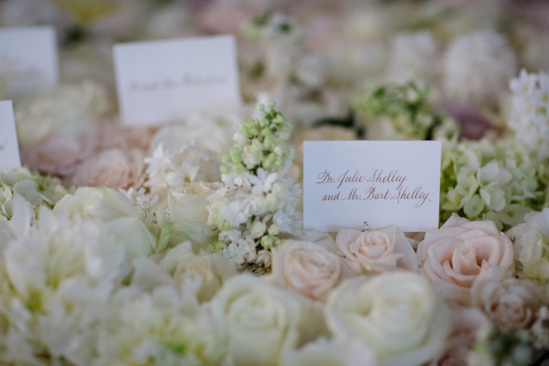 Wedding place cards written in gold script in white, pink roses, light green hydrangeas