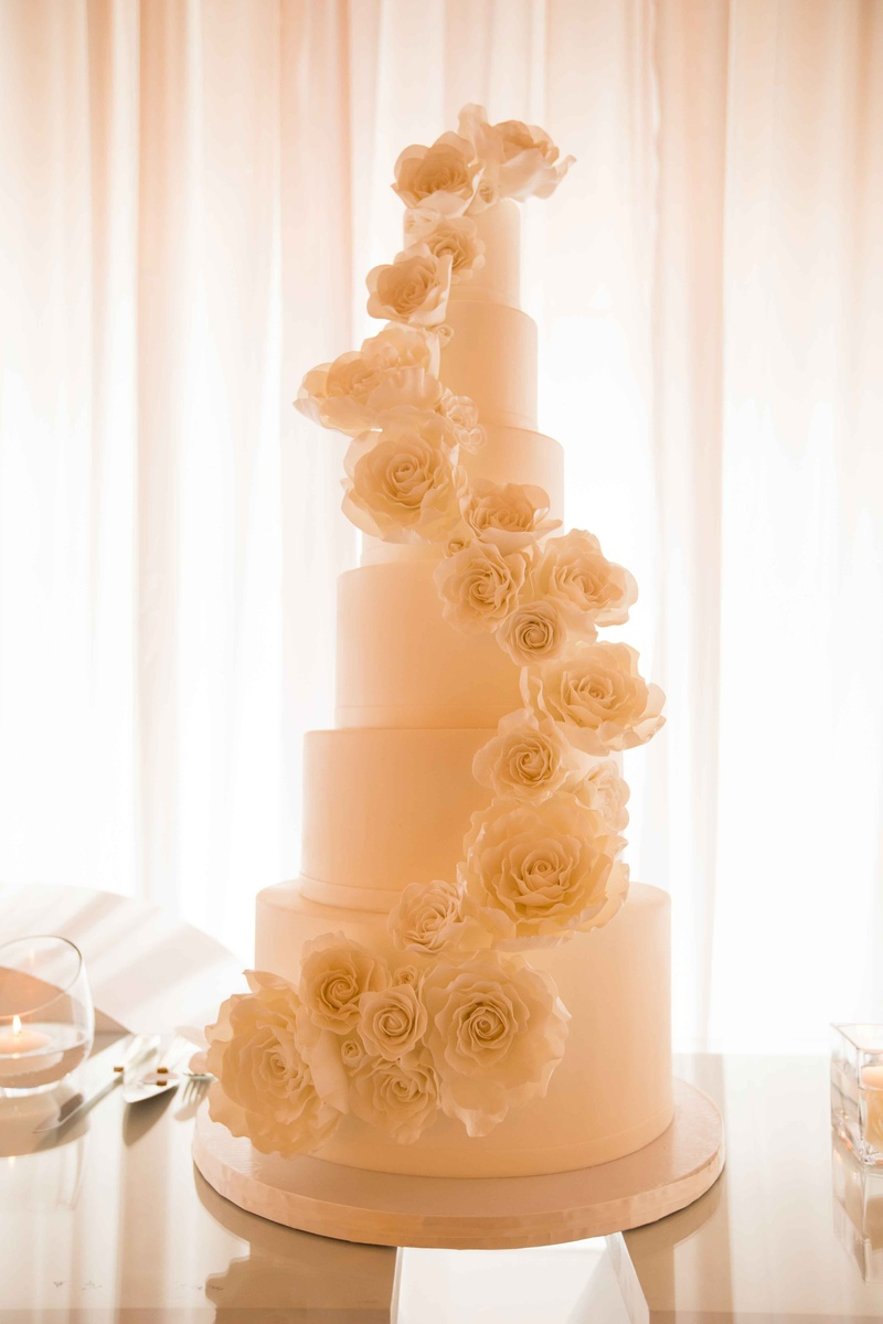 Cakes & Desserts Photos - 6-Tier White Cake, Descending Flowers ...