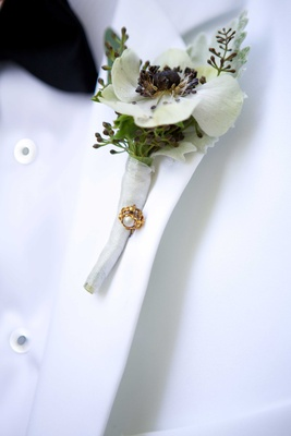 grooms boutonniere white greenery flower foliage gem pin white jacket