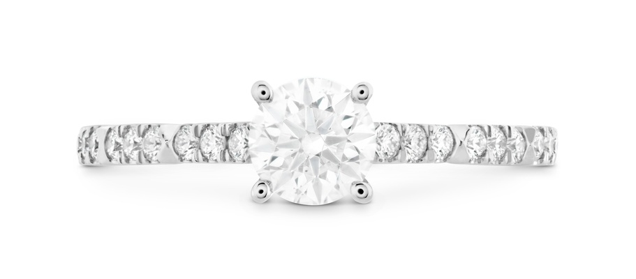 Hearts On Fire Cali Chic diamond engagement ring pave band solitaire four prong round diamond center