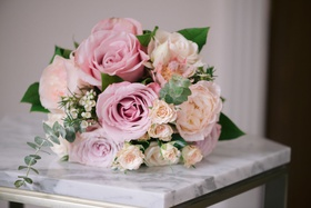 large pink roses, garden roses, peonies in bridesmaid bouquet