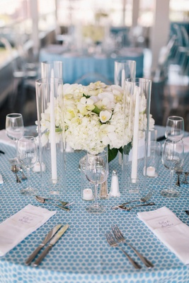 detriot lions quarterback matthew stafford rehearsal dinner blue spotted linens table set flowers
