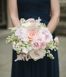 Rose and peony wedding flowers in pink and white
