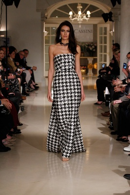 Oleg Cassini Fall 2018 bridal collection spring 2019 couture dress black white houndstooth sequin