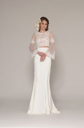 Two-piece Hannah dress with sheer lace top by Eugenia Joy Collection Fall 2016
