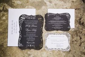 wedding paper divas black and white invitation suite with laser cut damask border