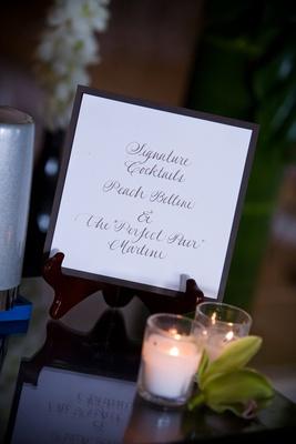 Brown calligraphy wedding drinks menu card