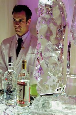 Bartender next to bar ice sculpture for wedding reception