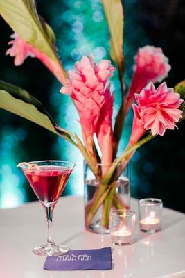 wedding reception cocktail hour bar with custom personalized napkin martini lemon twist pink ginger