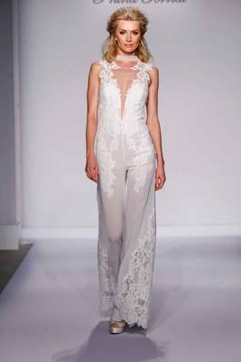 Pnina Tornai for Kleinfeld 2016 wedding jumpsuit with lace
