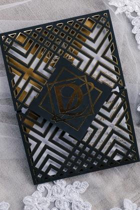 modern geometric wedding invitation black and gold foil white details