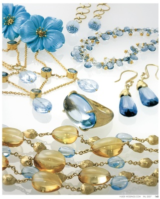 Blue topaz Lattice necklace, by Tanya Farah. Hand carved turquoise flower earring jackets, by KEP De