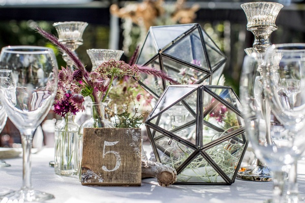 tahoe wedding with geometric terrariums and purple wildflowers