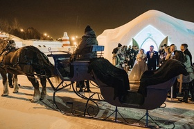 ice castle wedding ceremony unique venue horse drawn carriage winter wedding ideas
