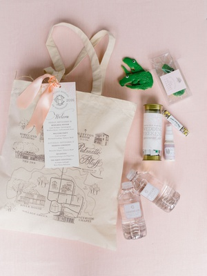wedding favor gift welcome bag peach map on tote bag water bottle cookie treats recovery kit