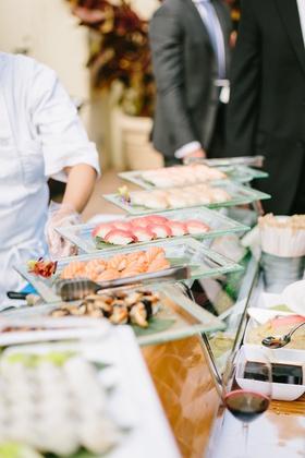 wedding reception catering ideas, sushi station, sashimi station, food stations at wedding
