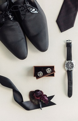 Groom's shoes textured cuff links black watch burgundy oxblood boutonniere and tie wedding details