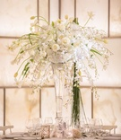 white green tall centerpiece glass vase contemporary roses hydrangea tulips silver new york wedding