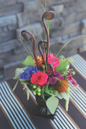 Garden-inspired floral display on stripes