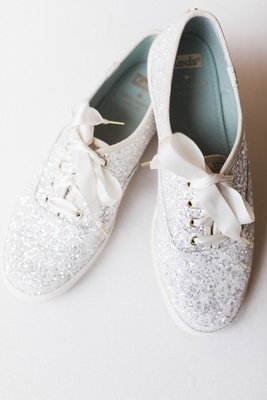 wedding reception shoes keds kate spade collaboration silver glitter white ribbon ties