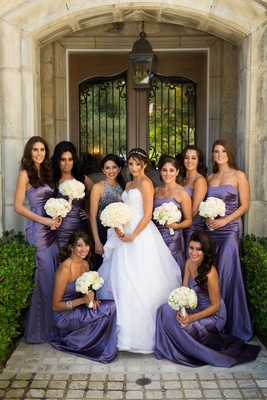 White Orchids Strapless Purple Bridesmaid Dresses With Ruched Bodices