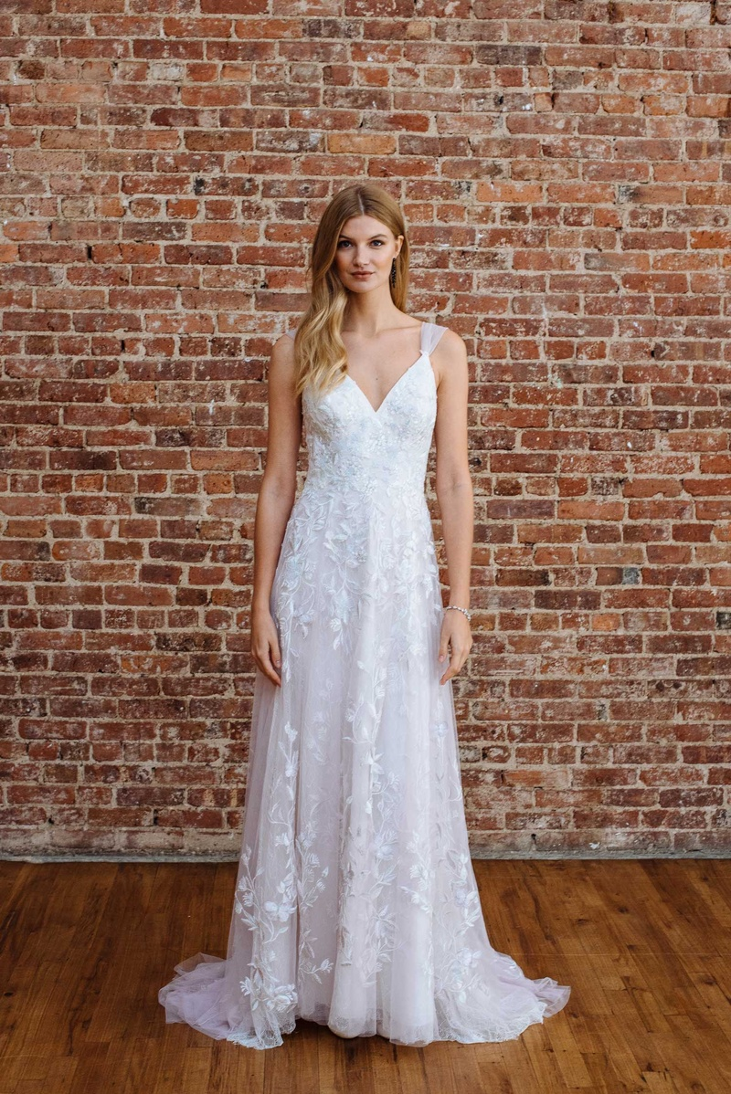 8b4a009fb9 David's Bridal spring 2018 presentation v neck bridal gown with flower vine  motif embroidery skirt