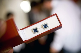 Jewel cufflinks in red box