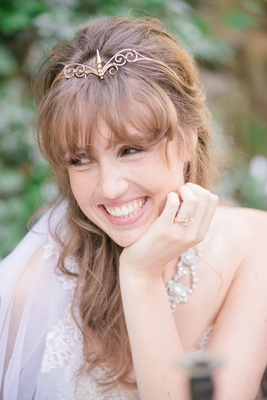 bride gold headband crown ring vintage smiling celtic wedding