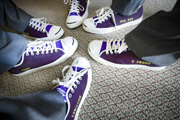 Personalized purple groomsmen Converse tennis shoes