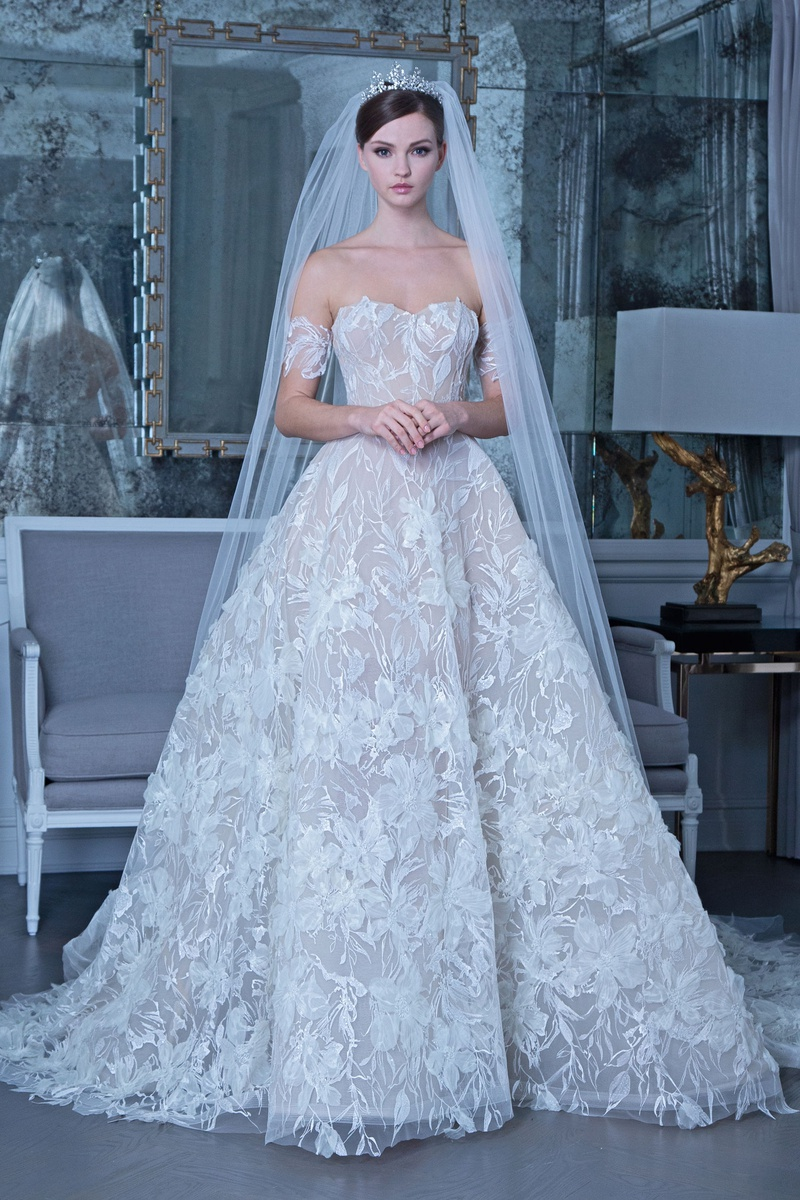 Romona Keveža fall 2019 bridal collection wedding dress RK509 ball gown floral appliques embroidery