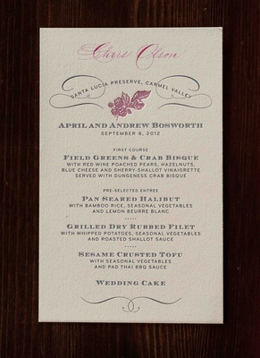 Personalized menu cards with pink fruit motif